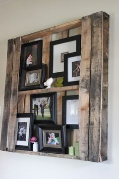 Photo display using a pallet.