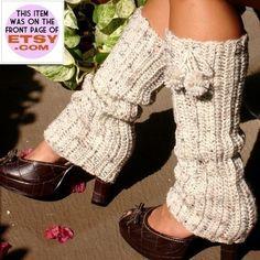 Crochet Leg Warmers with Pom Poms - Oatmeal