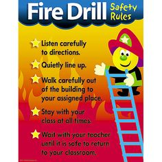 """A list of common fire drill safety rules with attention-getting graphics. Back of chart features reproducible activities, subject information, and helpful tips. 17"""" x 22"""" classroom size."""