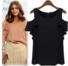 Fashion O Neck Short Sleeve Solid Black Shirt_Blouses&Shirts_Tops_Womens Clothing_Cheap Clothes,Cheap Shoes Online,Wholesale Shoes,Clothing On lovelywholesale.com - LovelyWholesale.com