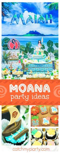 "Moana / Birthday ""The Ocean is Calling. Moana Themed Party, Moana Birthday Party, Moana Party, Luau Birthday, 3rd Birthday Parties, Birthday Cake, Birthday Ideas, Hawaiian Birthday, Aloha Party"
