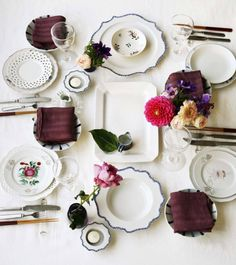 This is why I suggest that every bride register for a lovely set of everyday white place settings. You can mix & match them with so many other pieces-vintage, flea market finds, hand-me-downs, yet still create gorgeous tables.