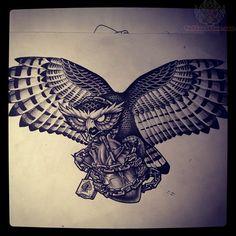 WOW.  Flying Owl Tattoo