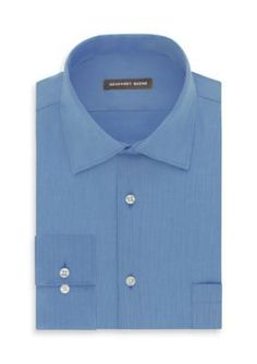Geoffrey Beene Cameo Blue No-Iron Fitted Dress Shirt