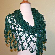 Shawl Triangle Crochet Teal Green Blue by wildirishrosecrochet, $49.99