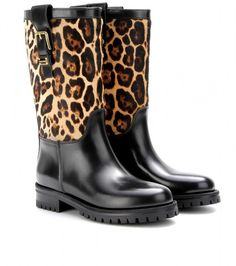 10b0ec3210aa Leather Boots with Animal print Calf Hair - Lyst Black Mid Calf Boots