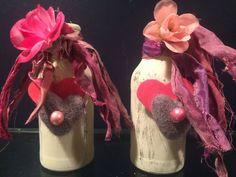 distressed heart jars Valentine jars distressed jars by Bedotted