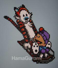 Calvin & Hobbes, en Hama Beads - HamaGurumi