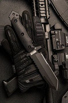 Investing in survival gear can significantly improve your chances of surviving a natural disaster. You should put together an extensive survival kit and work on your survival skills as much as possible. Tactical Knives, Tactical Survival, Survival Knife, Tactical Gear, Survival Gear, Tactical Scopes, Military Knives, Combat Knives, Cool Knives