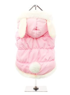 ON SALE! Pink Quilted Dog Coat with Hood and Ears! Like a bunny!