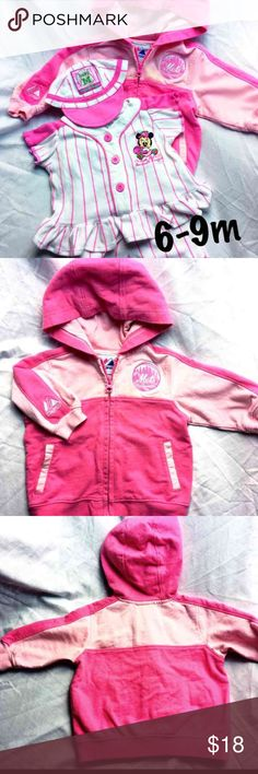 EUC Baby Girl Mets/Minnie Mouse Baseball Bundle EXCELLENT CONDITION! Adorable authentic Mets apparel baby girl two tone pink full zip hoodie with official Mets logo & 3-Piece Minnie Mouse pink & white pinstripe baseball jersey, shorts and cap! Great for your little girl to route for you favorite them right along side of you! * Combine multiple of your favorite items together into a customs bundle for a BUNDLE DEAL!  * Mets baseball team * sports * fan gear * baseball * Disney * Majestic…