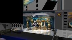 Stage of the The Movideo-Mix tv Show. The Actor Contest. Stage Set Design, Scenic Design, Tv Shows, Scenery, Actors, Painting, Landscape, Stage Design, Painting Art