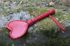 Leather BDSM Spanking Paddle «Heart» by BDDSSMToys on Etsy