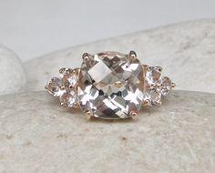 Amethyst Rings White Topaz Ring Engagement Ring by Belesas on Etsy