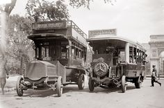 Today's picture comes to us from 1913. It shows two buses in New York City. I love how the buses really look more like motorized train cars. Not sure what part of New York the picture is taken in.