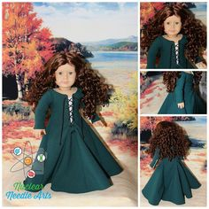 STUNNING. Kel P. of Nuclear Needle Arts turned her American Girl doll into the perfect Scottish Princess Merida from Disney's Brave using Lee & Pearl's Pattern 3001: A Late Medieval Lady's Wardrobe for 18 Inch Dolls. Make your own authentic medieval wardrobe using this pattern, which is available in our Etsy store at https://www.etsy.com/listing/210801214/lp-pattern-3001-a-late-medieval-ladys