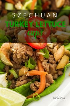 Low carb and easy to make these Sweet and Spicy Turkey Lettuce wraps are perfect for lunch or a busy weeknight! Delicious Recipes, Yummy Food, Healthy Recipes, Easy Turkey Recipes, Turkey Lettuce Wraps, Turkey Dishes, Sweet And Spicy, Healthy Chicken, Whole Food Recipes