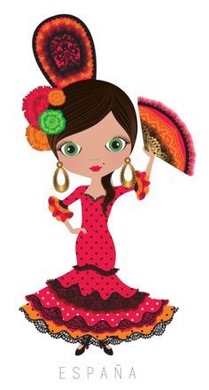 Spain Travel Doll ~ by Veronica Alvarez Illustrations, Illustration Art, Girl Clipart, Kawaii, Thinking Day, We Are The World, Mexican Art, World Cultures, Paper Dolls