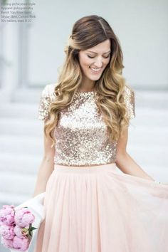 Two Pieces Rose Gold Sequin Top Blush Skirt Prom Homecoming Dress be95abac6