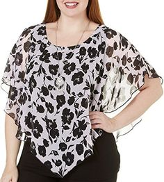 916219d20f8af AGB Plus Popover Floral Print Poncho Top 2X Black blush pink
