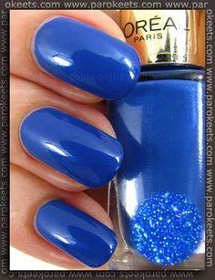 L'Oreal Rebel Blue (no. 610) nail polish.