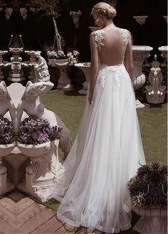 Elegant Tulle V-neck Neckline A-line Wedding Dresses With Beaded Lace Appliques