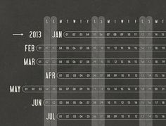 So at a glance, you can check the date of the third Wednesday in June, and you can discover if your anniversary falls on a weekend. Unique aesthetic aside, the calendar is, beyond all else, des