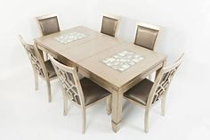 Casa Bella Vintage Silver 7pc Dining Room Set w/Extension Leaf Table