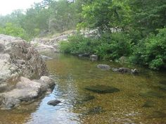 """The best swimming holes are secret places... Rocky Falls in Missouri reminds me of my favorite Oklahoma """"Blue Hole"""""""
