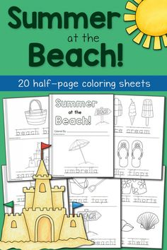 Summer Coloring Pages: At the Beach!  Create a 22-page mini coloring book!
