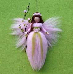 Reserved for Bonnie Needle Felted Wool Fairy Christmas Angel X-MAS Ornament Faeries Doll Soft Sculpture Wool Craft Waldorf Inspired Wool Dolls, Felt Dolls, Wet Felting, Needle Felting, Diy Laine, Felt Angel, Felt Fairy, Felting Tutorials, Wool Felt