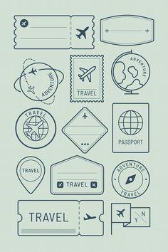 Bullet Journal Voyage, Doodle Bullet Journal, Bullet Journal Travel, Bullet Journal Notebook, Bullet Journal Ideas Pages, Bullet Journal Inspiration, Bullet Journal Vectors, Travel Stamp, Travel Logo