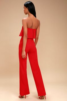Power of Love Red Strapless Jumpsuit 3