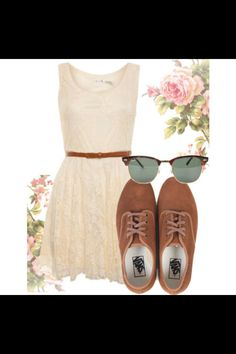 Cute spring outfit- white gauze dress, brown belt, brown oxfords