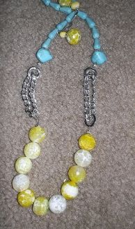 Yellow Agate and Turquoise Chain Necklace with Yellow Agate Matching Earrings