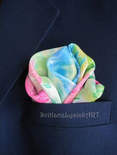 Floral pocket square Gift for men Silk pocket square Silk