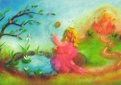 ABC Kaart en repro Conte, Grimm, Gd, Fairy Tales, Pastel, Wool, Painting, Free, Drawings