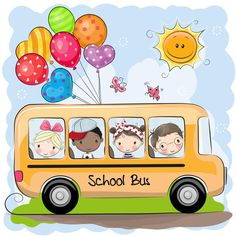 Back to school. School bus and four cute cartoon kids royalty free illustration