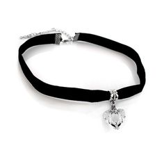 Heart Choker with Velvet Band ($5) ❤ liked on Polyvore featuring jewelry, necklaces, heart shaped necklace, sparkly necklace, white jewelry, charm necklace and velvet choker necklace