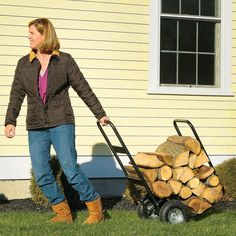 Rolling Wood Cart – Load it up with up to 250 lbs of wood and roll it where you need it. It's heavy duty wheels will roll right over tough terrain and up and down stairs.