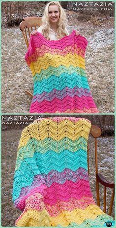 Crochet Double Sweet Ripple Blanket Free Pattern - Crochet Rainbow Blanket Free Patterns