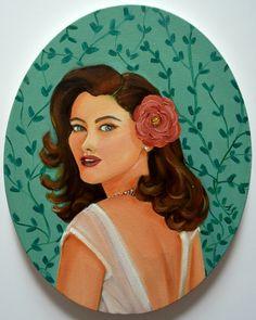 Portrait of a lady, vintage art, oil painting