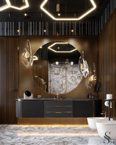 Mostly natural materials, such as: noble color wood and perforated brass as wall … – Marble Bathroom Dreams Bathroom Design Luxury, Modern Bathroom, Small Bathroom, Master Bathroom, Colorful Bathroom, Master Baths, Ikea Bathroom, Bathroom Vanities, Bathroom Designs