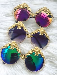 So pretty. Love thrse colorful lenes looks like royalty eyewear. Cat Eye Sunglasses, Mirrored Sunglasses, Sunglasses Sale, Mode Cool, Lunette Style, Jewelry Accessories, Fashion Accessories, Fashion Eye Glasses, Cute Glasses