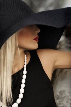 Urban Edge - lbd, pearls, big hats and red lips