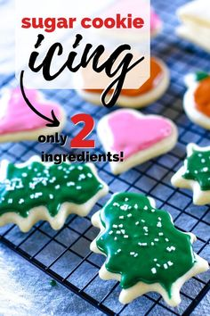 Two ingredient sugar cookie icing recipe for decorating. Made with no corn syrup. A simple recipe that is perfect for sprinkles as it hardens. The best ever! #icing #frosting #sugarcookie #cleverlysimple