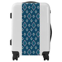 Navy Blue Teal and White Diamond Luggage - blue gifts style giftidea diy cyo