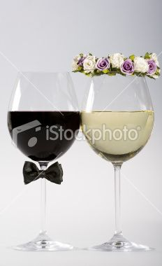 Wine glasses made as bride and groom Royalty Free Stock Photo