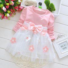 2015 Korean Blue Girls Dress Plum Blossom Flower Print Spring and Autumn Kids Clothing Size 6M-24M