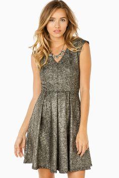 Renetta Dress in Black Gold